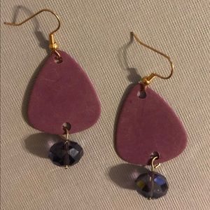 Jewelry - Purple guitar pick earrings